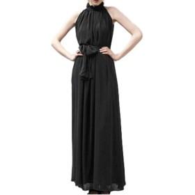[グランローバ] ふんわり エレガントロングドレス ノースリーブ ホルターネック 縦感のドレープとオーガンジー シフォンの素敵デザイン (ブラック)