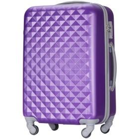 (トラベルデパート) 超軽量スーツケース TSAロック付 ダイヤ柄 Mサイズ パープル