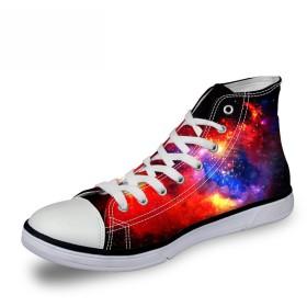 [FOR U DESIGNS]個性的なデザイン 軽量 キャンバス スニーカー レースアップ カジュアル シューズ canvas shoes ハイカット メンズ レディース 星柄
