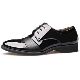 Full Nice(JP) ビジネスシューズ メンズ 紳士靴 レザー 革靴 フォーマル レースアップ 男性用(ブラック,25cm)