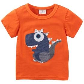 かわいい漫画の恐竜のTシャツの男の子半袖の動物のトップス (6T, オレンジ)