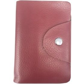 本革 レザー 26ポケット(52枚収納可能)カードケース 名刺ケース 名刺入れ カード入れ カードケース コンパクト 軽量 13色女性にも カードケース 名刺ケース カラフル カードケース。かわいい本革カード入れ (ワインレッド)