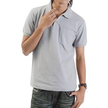 ティーシャツドットエスティー ポロシャツ 半袖 無地 鹿の子 ポケット付き UVカット 5.8oz メンズ グレー M