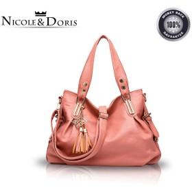Nicole&Doris 新しい バッグ レディース ハンドバッグ カジュアル ファッション ソフト バッグ ポータブル ショルダーバッグ 女性 メッセンジャー PUレザー ピンク