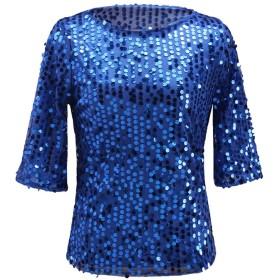 newrong Tシャツ スパンコール クルーネック 五分丈袖 無地 シンプル レディース ロイヤルブルー XL