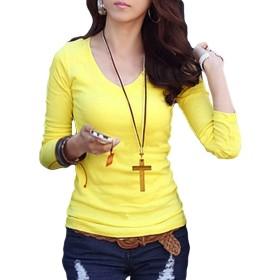 [Flapkash(フラップカッシュ)] 長袖 カットソー 爽やか クリーン 無地 シャープ 着こなし 着回し スッキリ お出掛け 着心地 シルエット カジュアル キレイ ブラウス カワイイ ファッション Vネック シャツ シンプル デザイン Tシャツ レディース L25(XL イエロー)