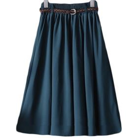 (エスティーリーフ)Esty leaf レディース フレア スカート ゆったり ウエストゴム ミモレ丈 ベルト付き 緑 グリーン