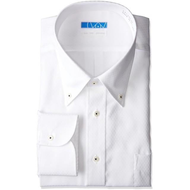[ドレスコード101] スマシャツ 洗って干してそのまま着る メンズ ノーアイロン ワイシャツ 長袖 形態安定 綿100% シャツ EATO23 白 チェックドビー ボタンダウ L (裄丈80)