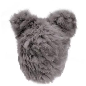 ZLYC厚く暖かい 帽子 ニット帽子 ラビットファー パンダ帽子 かわいい耳の形レディース 防寒 ファッション ビーニーキャップ