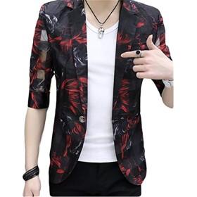 [サ二ー] ジャケット メンズ 大きい プリント柄 七分袖 黒 細身 ストレッチ ビジネス 西洋式 夏 ブラック M