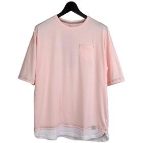 CREATION CUBE 裾フェイクレイヤード 半袖 ビッグ Tシャツ 8403-256 13.ピンク,L