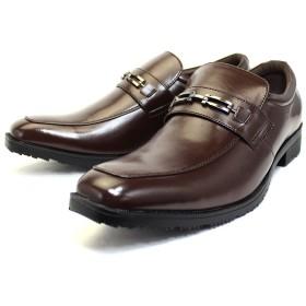 [ルミニーオ] ビジネスシューズ メンズ 靴 紳士靴 防滑 撥水アッパー 高反発インソール 3E 多機能 ビット 853 (26.5, ブラウン)