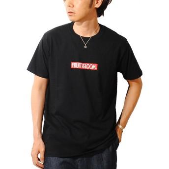 フルーツオブザルーム (FRUIT OF THE LOOM) ボックスロゴ Tシャツ USAコットン メンズ 半袖 (M, ブラック)