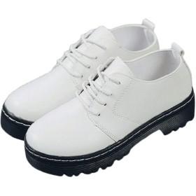 [ジルア] オックスフォード レースアップ シューズ おじ靴 厚底 靴 フェイク レザー タンクソール レディース れでぃーす あうとどあ あつぞこ すりっぽん でっき しゅーず くつ あうとどあ かじゅある 通気 通勤 通学 ([22.0-22.5cm] ホワイト, 白 35)#072