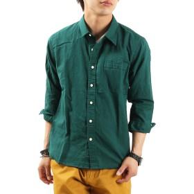 リネンコットン7分袖シャツ リネンシャツ 麻 七分 Mサイズ グリーン