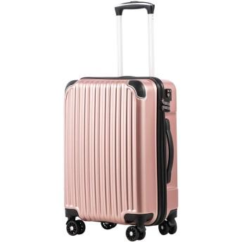 [クールライフ] COOLIFE スーツケース キャリーバッグダブルキャスター 二年安心保証 機内持込 ファスナー式 人気色 超軽量 TSAローク (S サイズ(機内持ち込み), ローズゴールド)