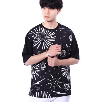 (エイト) 8(eight)花火柄Tシャツ ビッグTシャツ ファイヤー ブラックL