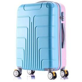 SAHASAHA かわいい スーツケース 便携ケース セット キャリーケース キャリーバッグ 機内持ち込みサイズから ファスナー 傷が目立ちにくい TSAロック ハードキャリー ジッパー ピンクとブルー (キャリーケース, SS機内持込サイズ(1-3泊))