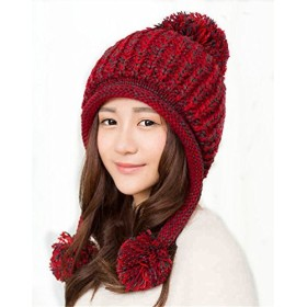 Hawkko ニット帽 レディース ポンポン 大きいサイズ 耳あて付 手編み かわいい 秋冬 スキー スノボ 防寒 雪山 ケーブル編み おしゃれ 小顔効果 (レッド)