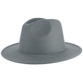 GEMVIE メンズ 帽子 フェルトハット 中折れハット 礼帽 無地 アウトドア 旅行 つば広 紳士帽 フォーマル ソフトハット カジュアル グレー