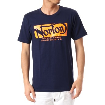 [ノートン] NORTON Tシャツ JAPAN加工 ネオン BOXロゴ 182N1022Q ネイビー M