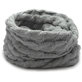 (トライバル)TRIBAL 品良く巻ける 大人カジュアルなスヌード ケーブル編みシンプルニットスヌード グレー