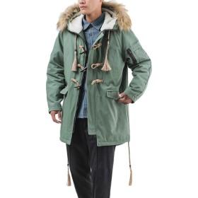 JOSCA モッズコート ダッフルコート メンズ ミリタリージャケット ロングコート ファー脱着 中綿入り 防寒 防風 厚手 無地 カジュアル 3シーズン対応 大きいサイズ