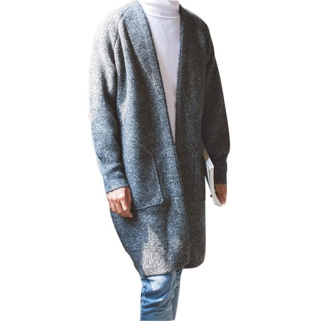 Spinas(スピナス) メンズ コーディガン メランジ ニット サラッと羽織ってオシャレにキマる ロング カーディガン 全2色(グレー ブルー)
