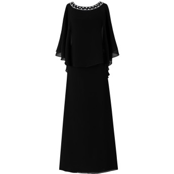 Dresstell(ドレステル) フォーマル 結婚式ドレス ドルマンスリーブ ビジュー付き ママのタイプ レディース ブラック 27W号