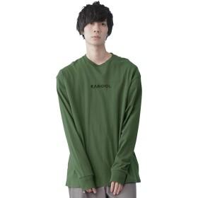 (カンゴール) KANGOL 別注ロゴ刺繍 オーバーサイズ プリント 長袖Tee Tシャツ モチーフ刺繍 メンズ ダークグリーン Mサイズ