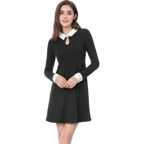 Allegra K フレア Aラインワンピース ドレス 長袖 細身 スリム 襟付き 可愛い レディース ブラック M