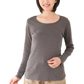 [クロスマーベリー] コットン フライス 長袖 Tシャツ 綿 100% 伸縮 ラウンドネック インナー 肌着 デイリー シンプル やわらか ゆったり カジュアル お洒落 きれいめ 無地 レディース 女性 ガールズ 大きいサイズ (W42 チャコール LL)