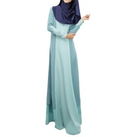 AngelSpace プラスサイズ婦人用ドバイ中東jilbabアラブイスラム教徒のドレス Sky Blue XL