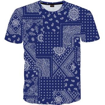 Pizoff(ピゾフ) メンズ 半袖 Tシャツ クルーネック ペイズリー柄 おしゃれ 原宿系 薄手 速乾 カットソーイベント 服AC145-50-XXL
