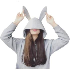 うさ耳 パーカー うさぎ耳 トレーナー ウサギ耳 付き フード かわいい ラビット フード (L, グレー)