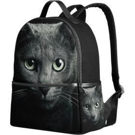 USAKI(ユサキ)かわいい 面白い 猫 キャット ネコ 猫柄 黒猫 ブラックキャッ,通学 通勤 旅行 遠足 カジュアル リュックサック キャンバス バック レディース 小学生 中学生 高校生 大学生 帆布 大容量 アウトドア バッグパック デイパック