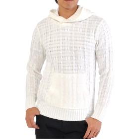 (スペイド) SPADE ニット パーカー セーター メンズ ケーブル ローゲージ ざっくり 【e300】 (L, ホワイト)