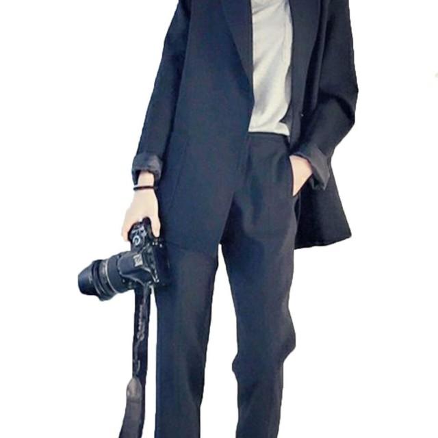 [ジャング] テーラードジャケット レディース パンツスーツ 上下セット 卒業式 パンツ セットアップ フォーマル 無地ブラックL