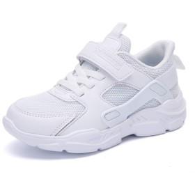 [麗人島株式會] 男の子本革スニーカー子供のためのパッチワークスポーツシューズ 20.5cm 白