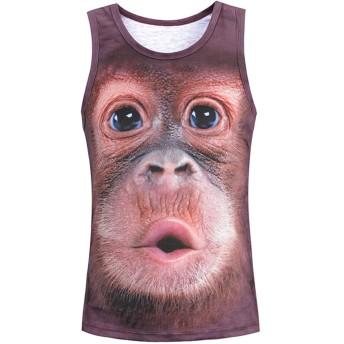 Pizoff(ピゾフ) メンズ タンクトップ アニメ系 おもしろい 猿柄 ストレット 着圧 涼感 吸汗速乾 仮装AG010-22-S