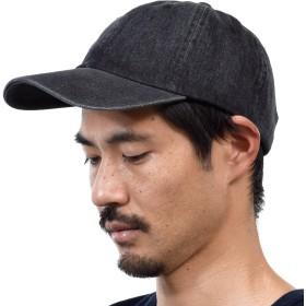(ニューハッタン) NEWHATTAN CAP キャップ ベースボールキャップ 帽子 デニム 無地 カーブキャップ (FREE(56~66cm), ブラック) [並行輸入品]