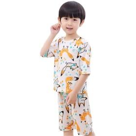 [ジャンーウェ] パジャマ パンツセット 子ども 女の子 男の子 七分袖 春夏 プリント キツネ柄 エアコン服 かわいい 写真通り140