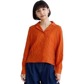 (メルロー) merlot チェック柄シアサッカー開襟シャツ オレンジ