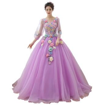 紫 演奏会ロングドレス 舞台衣装 カラー ウェディングドレス コンサート 舞台 写真など ドレス ふんわり 花レース ウェディングドレス 演奏会 パーティードレス パーティー 長袖 ロングドレス (XL)