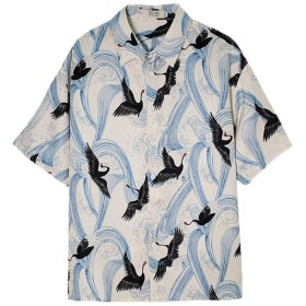 [Bestmood]アロハシャツ 半袖 メンズ ゆったり 鶴柄 シャツ ボタン付き ファッション リゾートシャツ 通気 おしゃれ メンズシャツ カジュアル ビーチ 夏(Qベージュ)