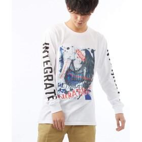 ロンT ストリート 系 メンズ レディース ロンティー ロング Tシャツ 長袖 ロゴ バック 袖 プリント B‐ホワイト M サイズ