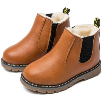 [ジャクシボー] キッズ ブーツ 男の子 女の子 ショートブーツ 裏ボア 防寒 レザー 防水 滑り止め 子供 フォーマル 靴 ブラウン(裏ボア) 21