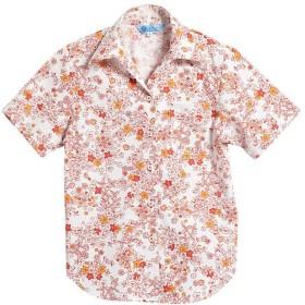 [MAJUN (マジュン)] 国産シャツ かりゆしウェア アロハシャツ 結婚式 レディース シャツ スキッパー ミニラインフラワー オレンジ M