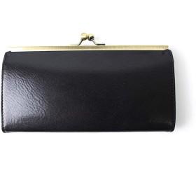 長財布 がま口 メンズ レディース 革 イタリアンレザー (ブラック01) [並行輸入品]