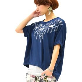 [アンドイット] and it_ スカーフ刺繍 裾タック カットソー (Tシャツ) レディース トップス 010ネイビー M